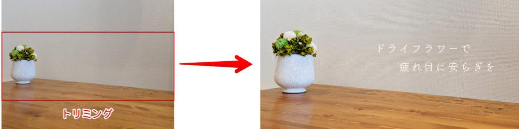 被写体を端に寄せた配置で撮影した写真を加工した時の比較図